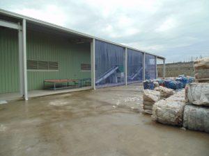 Подача отходов ПЭТ на линию переработки