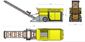 Размеры мобильного шредера в рабочем состоянии