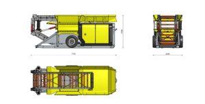 Размеры мобильного шредера в транспортном состоянии
